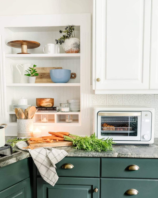 kitchen shelf decor and cottagecore kitchenware