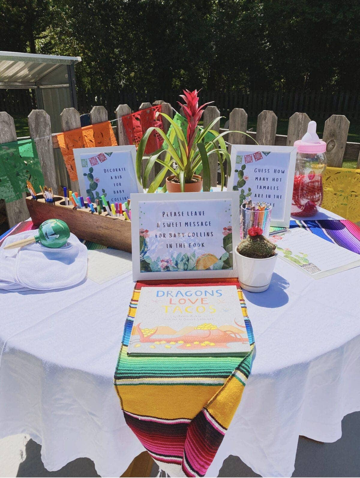 Mexican themed baby shower activity table
