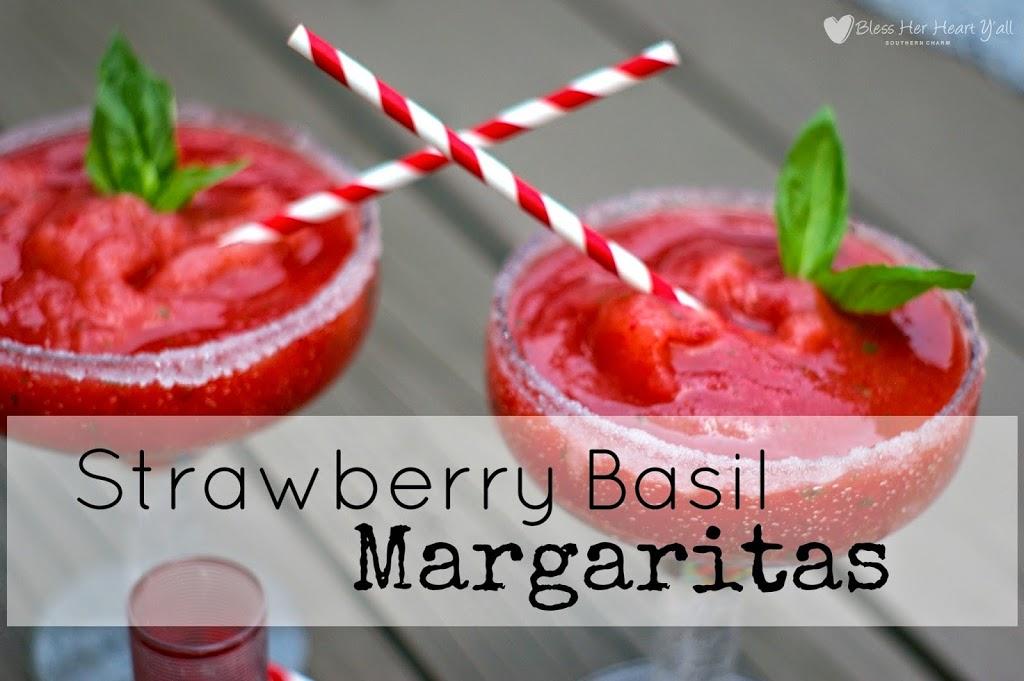 Fresh Strawberry Basil Margaritas