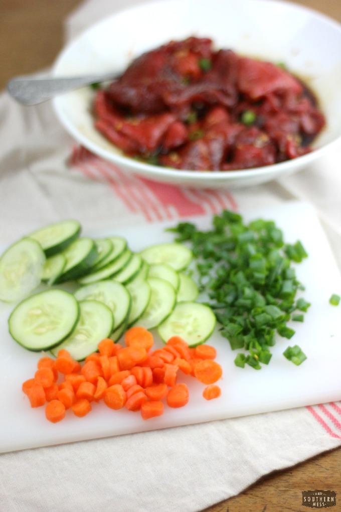Bulgogi korean BBQ barbecue beef taco recipe with cucumber carrot salsa