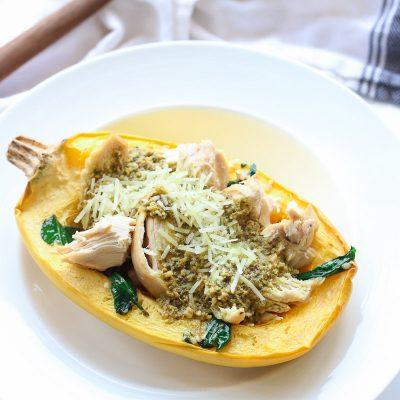 Gluten-Free Pesto Chicken Spaghetti Squash Bowls