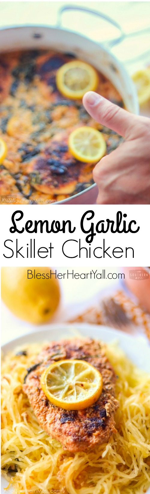 This lemon garlic skillet chicken combines, lemon, butter, and herbs to make a quick, light, and tasty meal! www.blessherheartyall.com