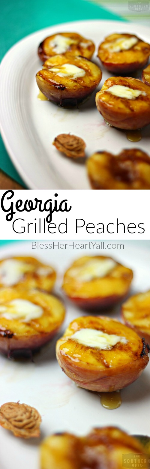 Georgia grilled peaches are a delicious gluten free treat! Grill peaches for just moments, add a bit of mascarpone cheese and a drizzle of brown sugar and honey for a sweet juicy treat! www.blessherheartyall.com