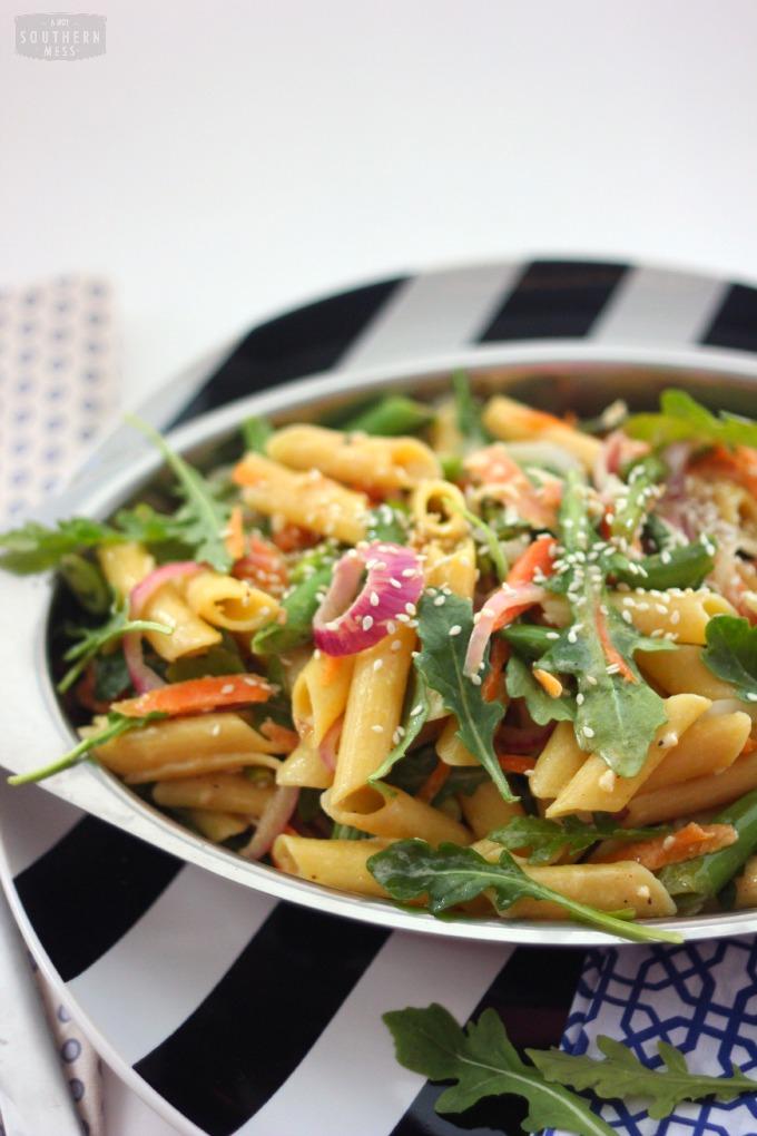 sweet and spicy summer garden vegetable pasta