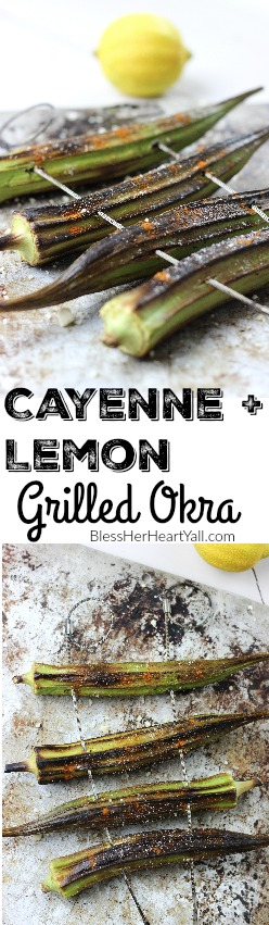 This cayenne lemon grilled okra is such an easy and tasty way to eat okra! No slimy gross green veggies here! Only a few minutes on the grill! Yum! www.blessherheartyall.com