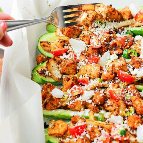 Chicken Taco Stuffed Zucchini Boat