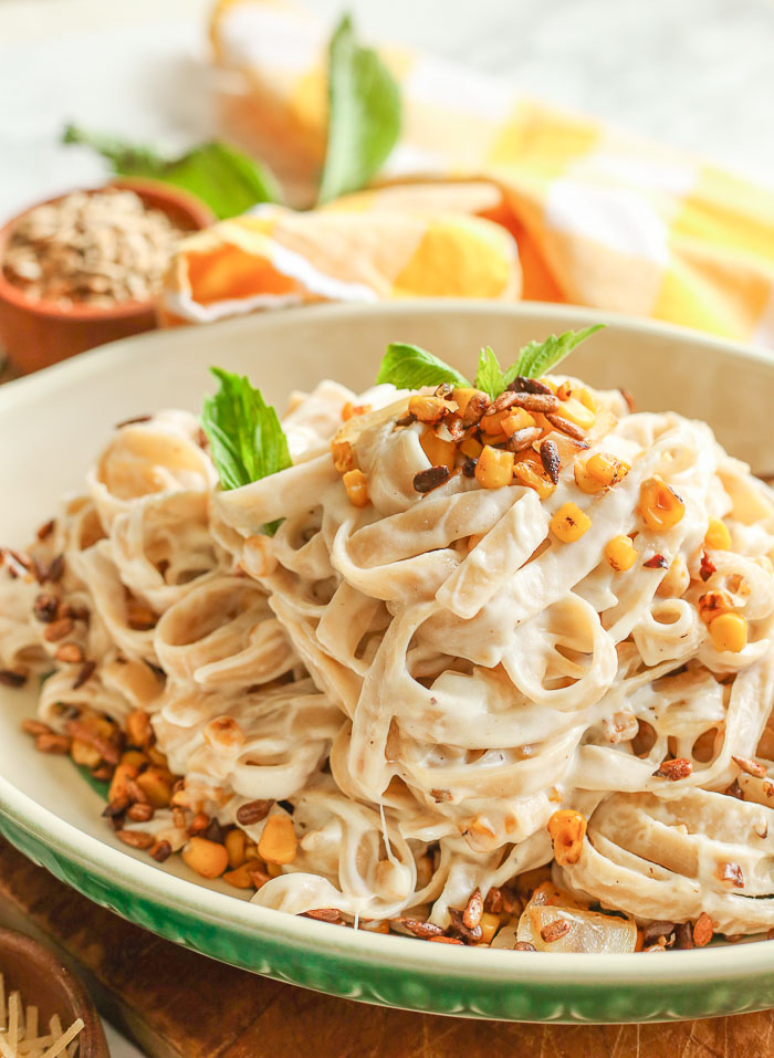 Goat Cheese Pasta Sauce + Sweet Corn and Sunflower Seeds