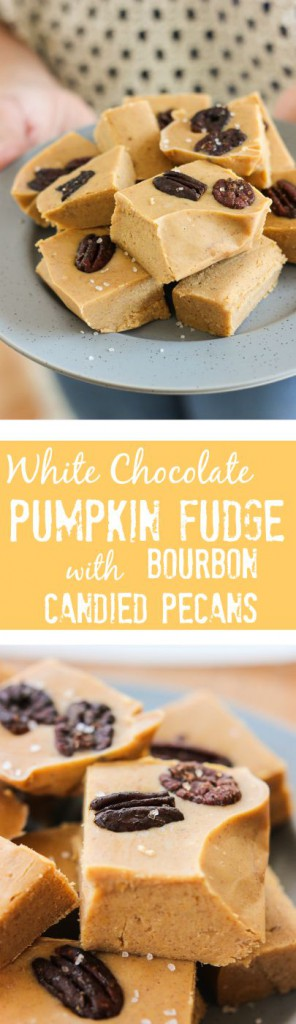 These easy and quick White Chocolate Pumpkin Fudge with Bourbon Candied Pecans are perfect for impressing your friends at your next fall party or get together! www.ahotsouthernmess.com