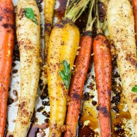 Spicy Honey Garlic Roasted Carrots