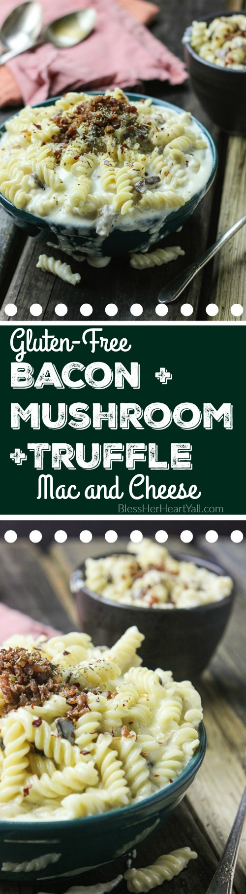 This spicy gluten-free mac and cheese recipe will blow your socks off in under 30 minutes! Let's combine bacon, mushrooms, truffle oil, some heat, and mac and cheese, shall we? Then we will create spicy, creamy, cheesy perfection. www.blessherheartyall.com
