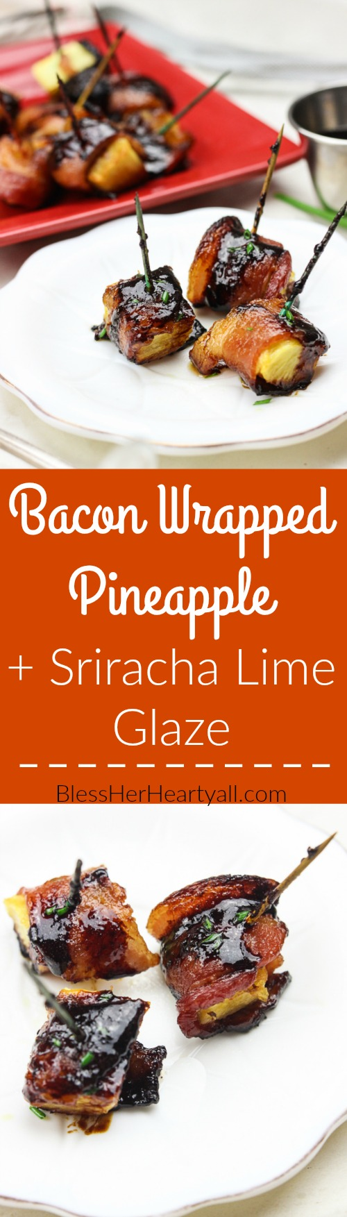 These bacon wrapped pineapple with sriracha lime glaze bites are an easy to-put-together appetizer for any party! Juicy pineapple is wrapped up in thick-cut applewood smoked bacon and then drizzled with a sriracha lime glaze before being baked in the oven to sweet and savory perfection! Yum! www.BlessHerHeartYall.com