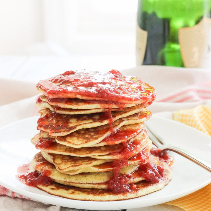 Gluten-Free Pancakes with Smashed Strawberry Champagne Sauce