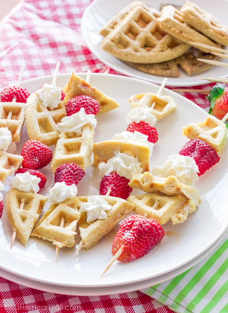 How awesome! These gluten-free waffle skewers make breakfast fun and tasty. The sweet brown sugar waffles go great with fresh berries and creamy whipped cream. And the best part? Breakfast is on a stick!