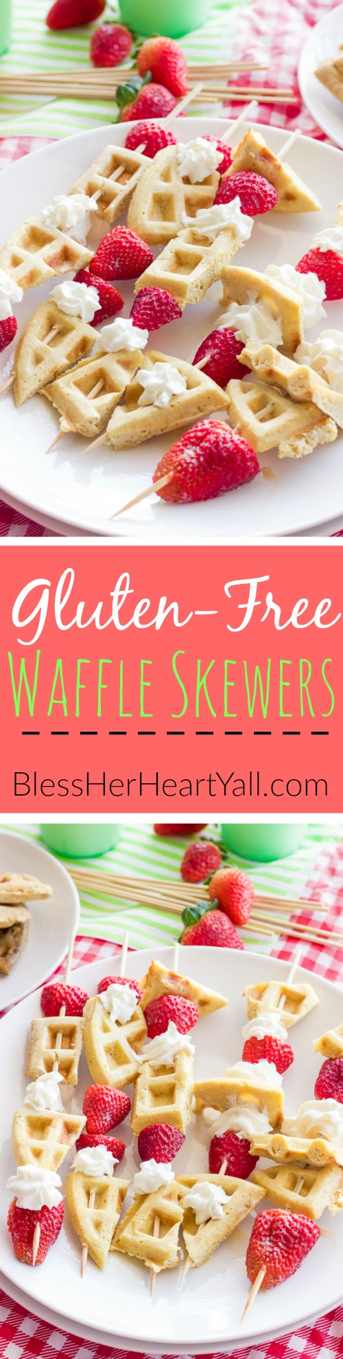 These gluten-free waffle skewers make breakfast fun and tasty. The sweet brown sugar waffles go great with fresh berries and creamy whipped cream. And the best part? Breakfast is on a stick!