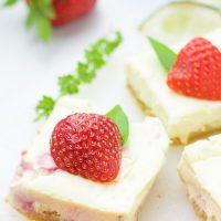 Gluten-Free Strawberry Basil Margarita Cheesecake Squares