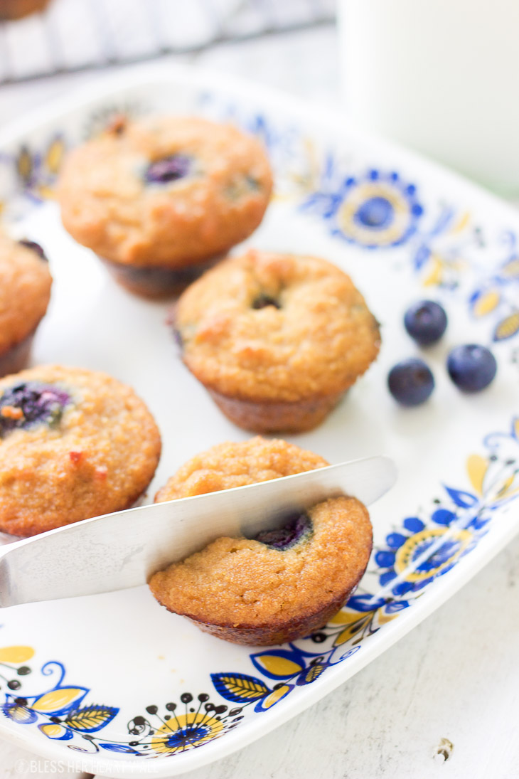 These gluten-free blueberry mini muffins are also grain-free and dairy-free! Grab a few of these moist fluffy muffins for your busy mornings on-the-go!