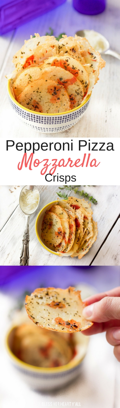These pepperoni pizza mozzarella crisps are the perfect little dippable appetizer or snack. Shredded mozzarella cheese is quickly baked with pepperoni pieces, garlic, and basil into crispy addictive bites that are easily dunkable into your favorite marinara sauce!