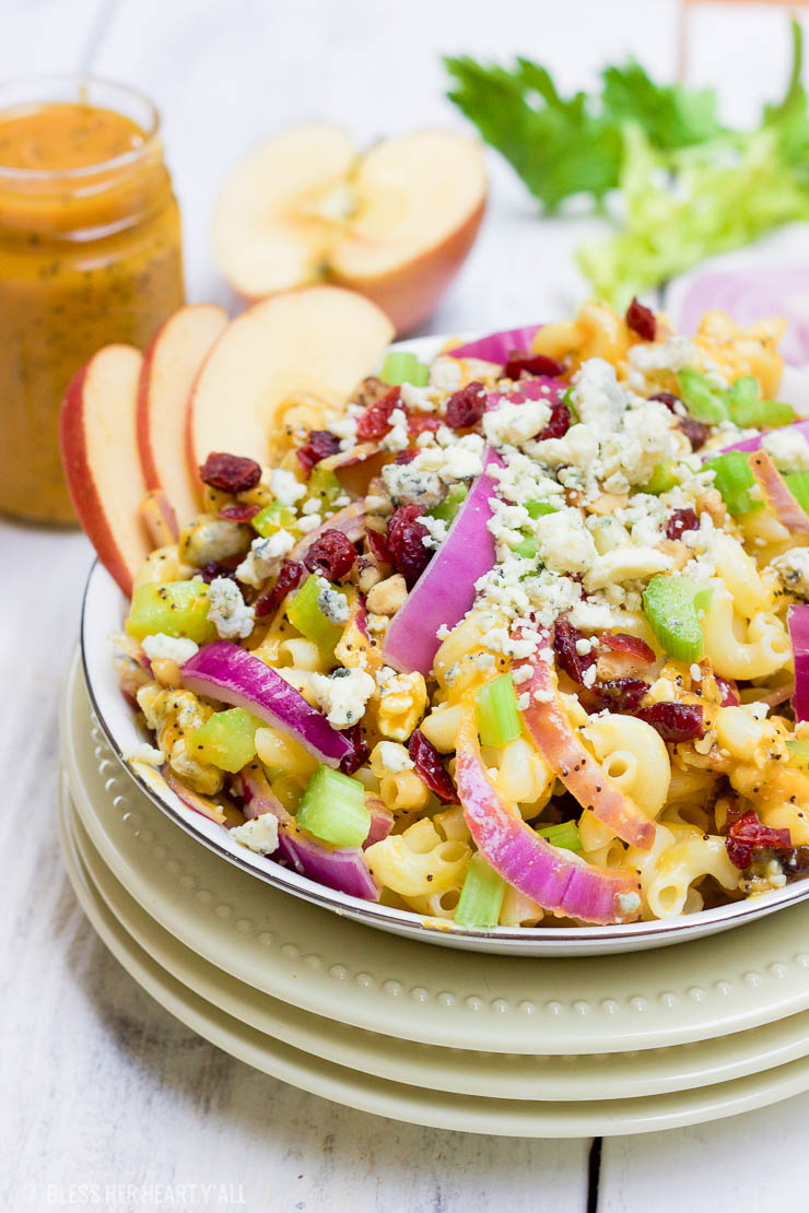 autumn harvest pasta salad with pumpkin poppy seed dressing
