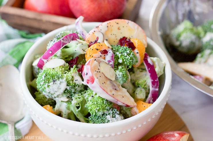 This healthy fall broccoli salad is gluten-free, grain-free, vegetarian, and is with bursting with autumn flavor! Greek yogurt, honey, lime juice, fresh and dried fruits, and almonds are tossed together to create a light, sweet, and creamy drizzle that's perfect for any fall table setting!