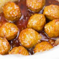 Slow Cooker Honey Peach Chipotle Meatballs (Gluten Free, Paleo)
