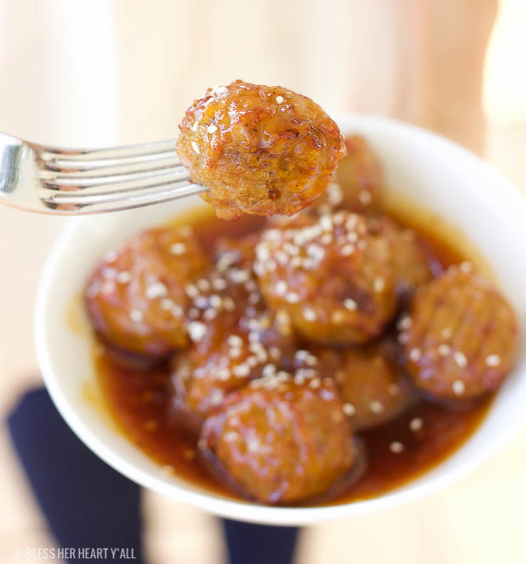 This 3-hour slow cooker honey peach chipotle meatballs are an easy sweet and spicy appetizer that's both gluten-free and paleo-friendly. Grab some honey, peaches, and spices and dig in!