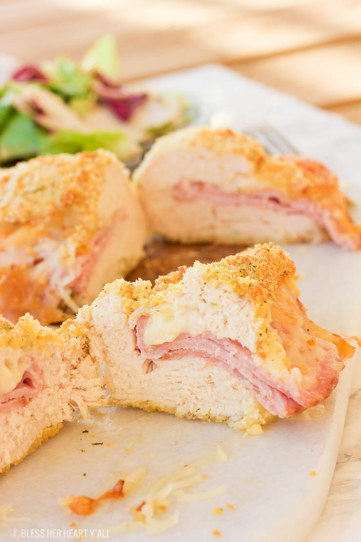 This gluten-free chicken cordon bleu recipe is both quick and easy. Crunchy outer coating and juicy chicken in the middle, all topped with warm ham and ooey gooey melted swiss cheese! www.blessherheartyall.com