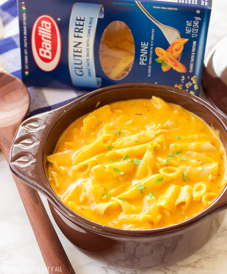 This gluten-free pumpkin macaroni and cheese recipe is the ultimate cheesy fall comfort food. Gluten-free noodles are cooked in a pumpkin, sage, and nutmeg sauce and just before serving are smothered in gooey cheddar and parmesan cheeses.