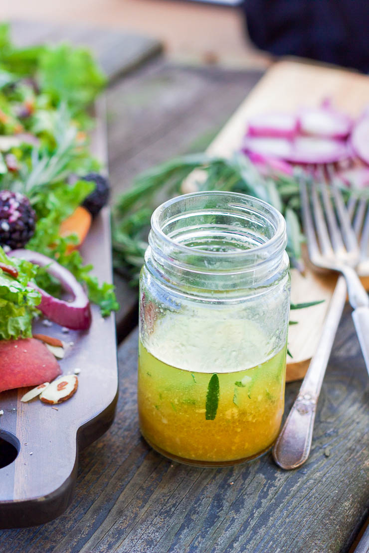 A colorful fall peach salad that is packed full of nutrients and a punch of flavor in every bite. The rosemary maple vinaigrette is slightly sweet and tart and savory. This salad is quick enough to make for a busy weeknight and easy enough to impress guests at a party!