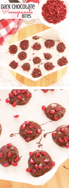 Dark chocolate pomegranate bites are the perfect quick and easy appetizer or sweet snack for the holiday season! Melted dark chocolate is sprinkled with pomegranate arils and sea salt before being allowed to harden and quickly disappear. Perfectly paired with a great glass of red wine and good friends!