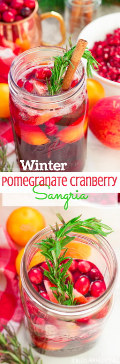 This winter pomegranate cranberry sangria recipe is a quick and easy twist on the popular sangria drink. Impress everyone at your next holiday or Christmas party with this sparkling red wine cocktail with apples, oranges, pomegranate, cranberry, rosemary, and cinnamon sticks! Get your drink on fancy pants!