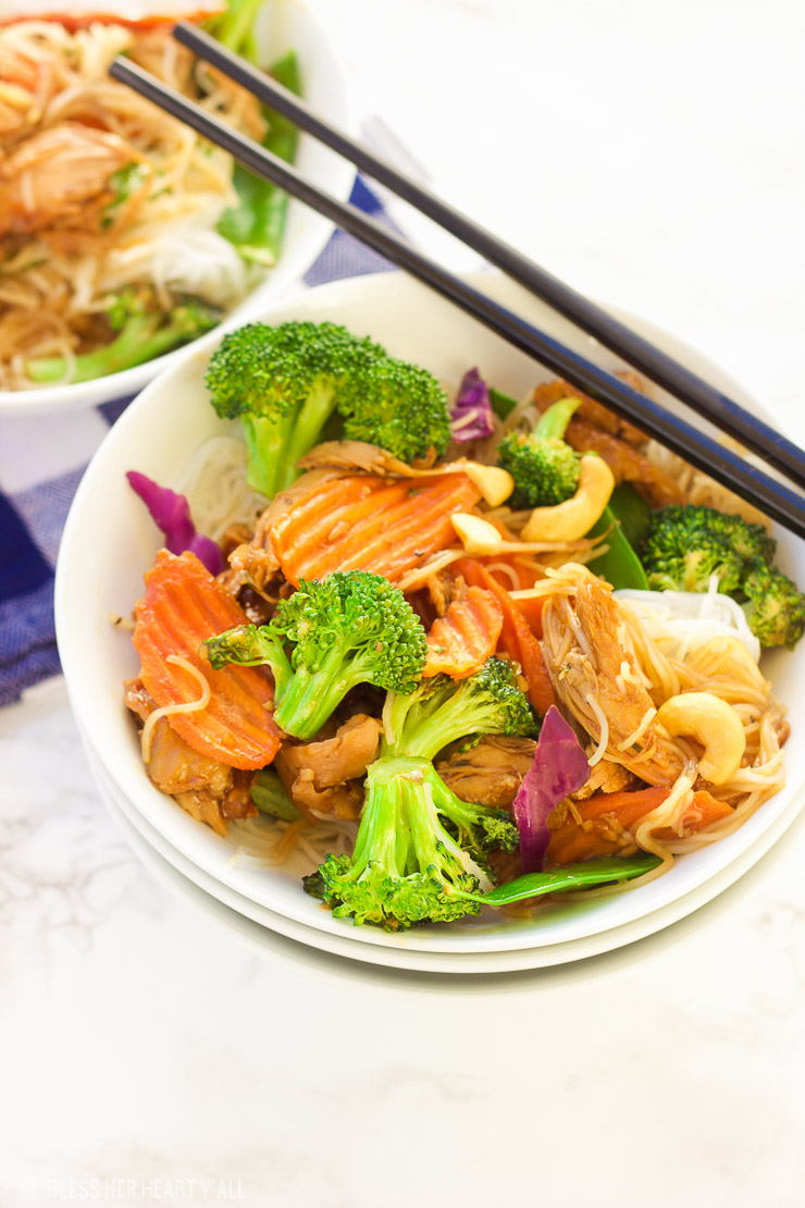 This turkey teriyaki stir-fry is the perfect way to eat up those Thanksgiving turkey leftovers! A healthy dose of stir-fry veggies are mixed in with a simple warm terriyaki glaze and then spooned over al dente rice noodles for a quick and tasty meal!