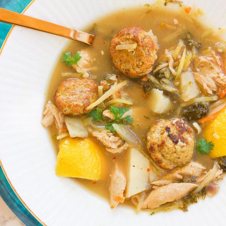 Healthy Leftover Turkey Lemon Garlic Soup (Gluten Free, Dairy Free, & Paleo)
