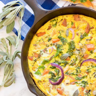 Paleo Leftover Turkey Sweet Potato Frittata