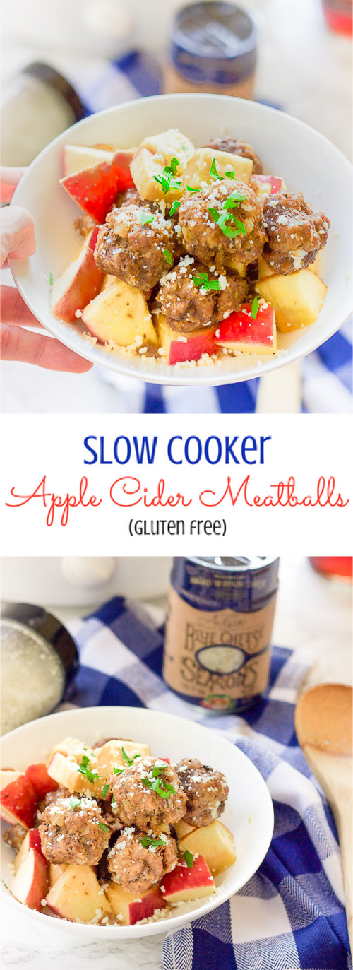 This easy slow cooker apple cider meatballs recipe dunks fresh meatballs and juicy apple slices in apple cider, garlic, and blue cheese crumbles for a delicious fall spin.  Bring them to a fall party and they will be gone in seconds! www.BlessHerHeartYall.com