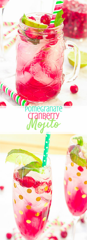 This cranberry pomegranate mojito recipe tastes just as it looks – juicy, sweet, refreshing, and light! With only a few simple ingredients, these cocktails are perfect for your winter holiday parties and for ringing in the new year! Cheers!