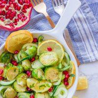 Lemon Garlic Roasted Brussel Sprouts + Zucchini + Pomegranate