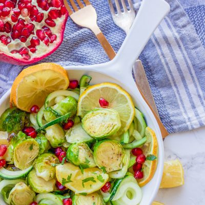 Roasted Lemon Garlic Brussel Sprouts + Zucchini + Pomegranate