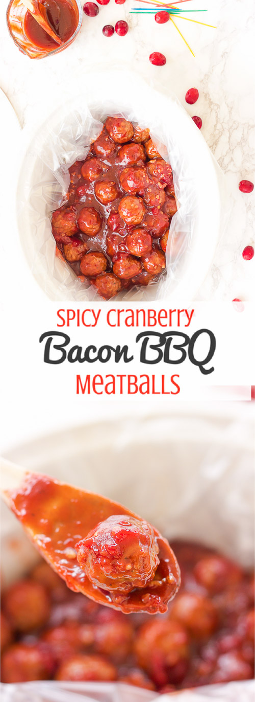 These gluten free spicy cranberry bacon bbq meatballs are the ultimate in sticky finger foods just in time for the holidays! A quick homemade cranberry sauce is melted and smothered into barbecue sauce and hot spices for the perfect sweet and spicy no-fuss pop-able party bites!