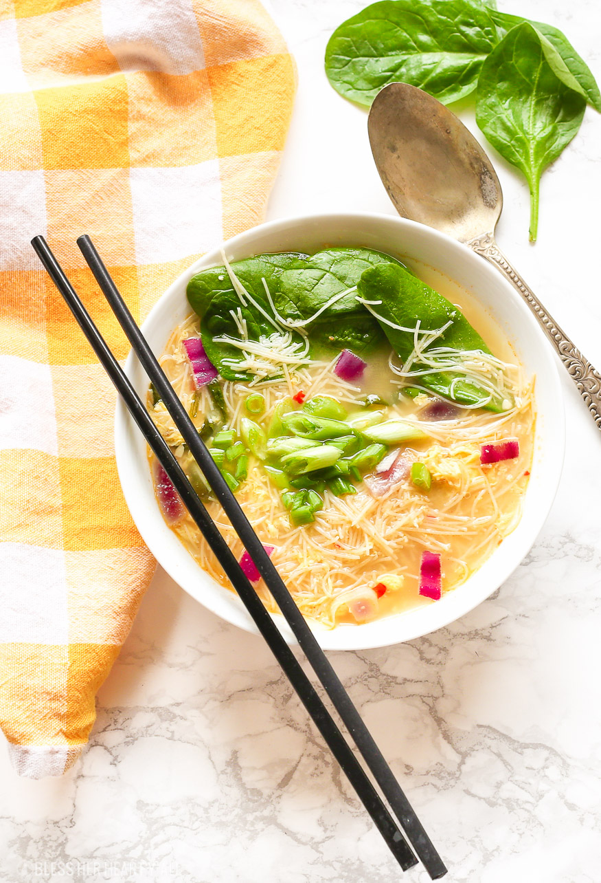 Egg Drop Noodle Soup + Kimchi Sauce is a one pot gluten free and dairy free recipe and ready in under 30 minutes!