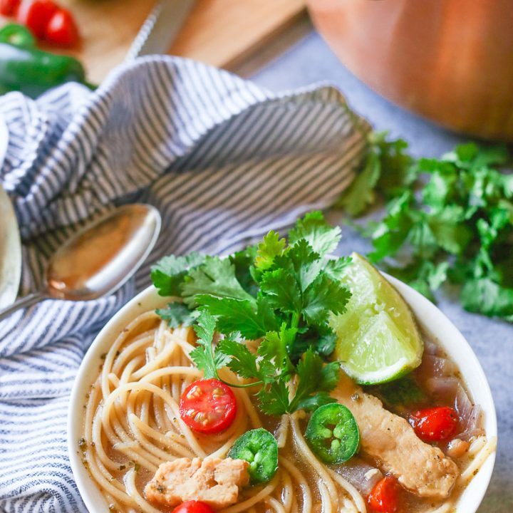 Healthy One Pot Mexican Chicken Noodle Soup