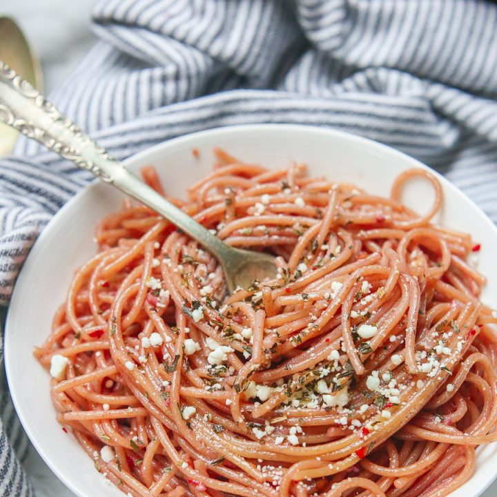 Red Wine Pasta + Garlic Basil Goat Cheese Sauce (Gluten Free)