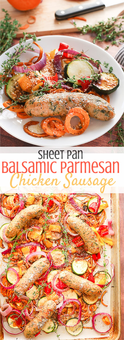 This sheet pan balsamic parmesan chicken sausage dinner is as easy to prepare as it is warm and savory. Healthy vegetables and gluten free chicken sausages are drizzled in a sweet and savory balsamic parmesan sauce then roasted to juicy perfection. The fanciest sausages you'll ever eat are easier than you think to make!