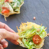 Healthy Caesar Salad Parmesan Cups | Gluten Free & Low Carb