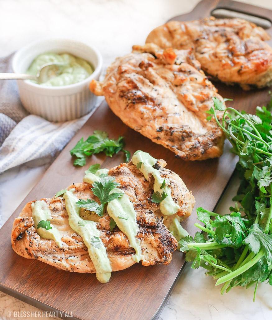 Healthy Cilantro Avocado Cream Sauce Chicken