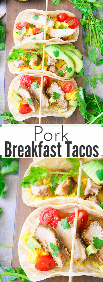 Easy and fresh pork breakfast tacos are a simple and healthy option to make for a filling 30-minute breakfast that the whole family will love!  Juicy and tender pork pieces are mixed with fluffy scrambled eggs, crisp chopped vegetables, and fresh cilantro pieces!