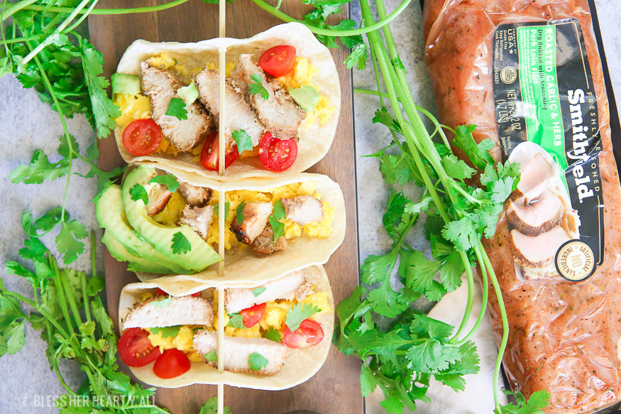 Easy and fresh pork breakfast tacos are a simple and healthy option to make for a filling gluten free breakfast that the whole family will love!