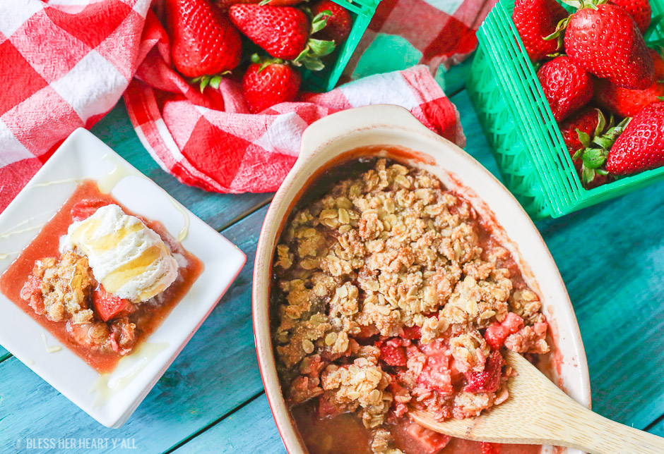 This gluten-free strawberry crumble warms sweet juicy strawberry pieces with a soft and sweet crisp topping. Perfect with vanilla bean ice cream and a drizzle of fresh honey!