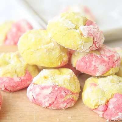 Strawberry Lemonade Crinkle Cookies {Gluten Free}