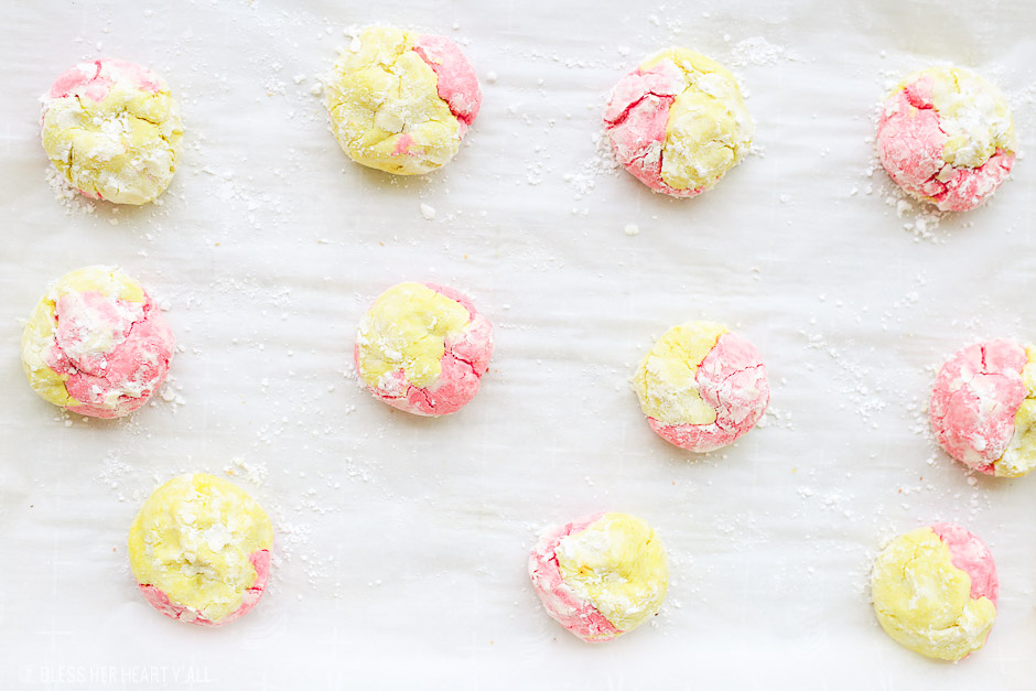 This strawberry lemonade crinkle cookies recipe combines zesty lemon flavors with sweet strawberry hints in a soft and fluffy crinkle cookie! These moist gluten free cookies are a great little snack or dessert all summer long! image 7
