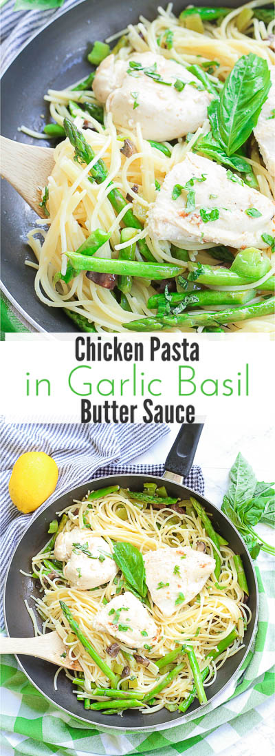 This chicken pasta in garlic basil butter sauce recipe makes for an easy gluten free dinner for busy weeknights. Pasta and chicken is tossed with the vegetables you already have in your kitchen and drizzled in a sizzling light and creamy garlic butter sauce with extra hints of basil and lemon!
